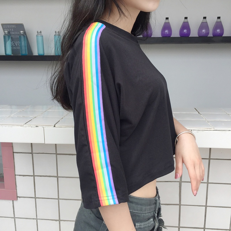 Women T-shirts Cute Rainbow Striped Side Tee Top Women O-neck Harajuku Contrast Panel Crop Top