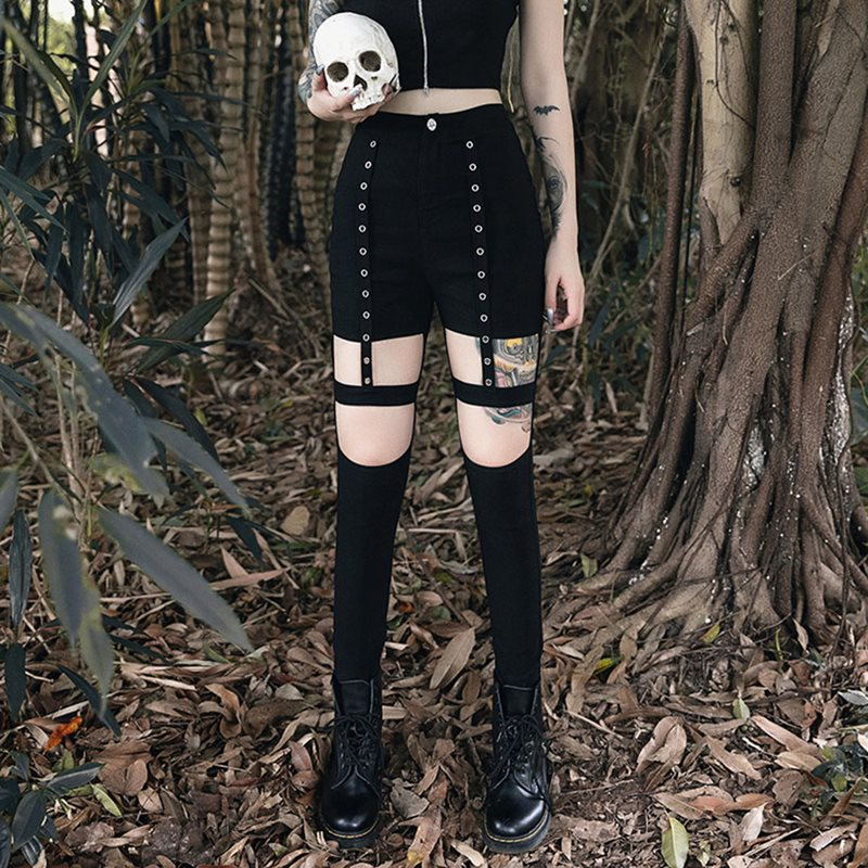Casual Punk Sexy Club Gothic Black Chic Women Pencil Pants Summer Slim Thin Hollow Summer Streetwear Female Goth Pants 2019
