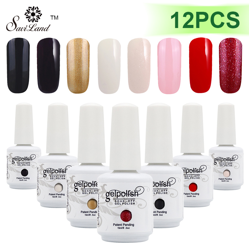 Saviland 12 pcs UV Gel Vernis À Ongles Vernis Permanent Vernis Ongles Esmalte 15 ml 58 Coloré En Option Gel polonais