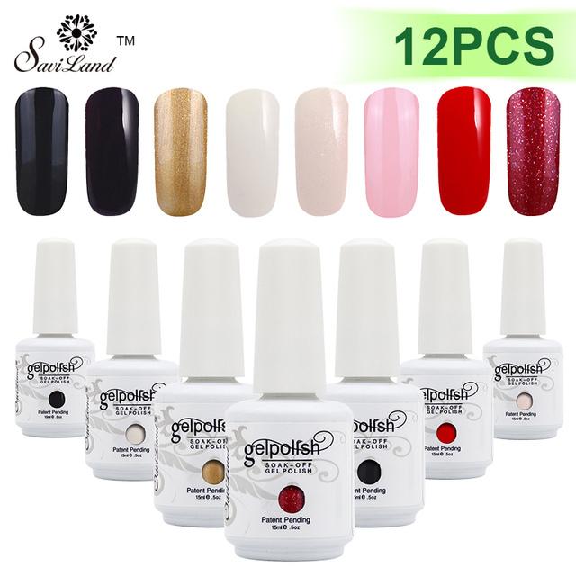 Saviland 12 unids uv gel de la laca de uñas permanente barnices de uñas esmalte 15 ml 58 colores opcionales de polaco del gel