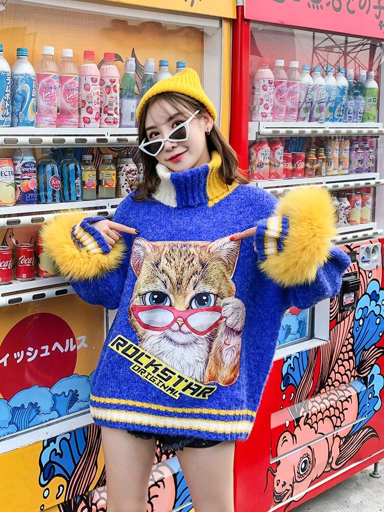 Printemps automne nouveau chat lettre autocollants rayures verticales col haut amovible manches en fourrure couture lâche pull pull femmes