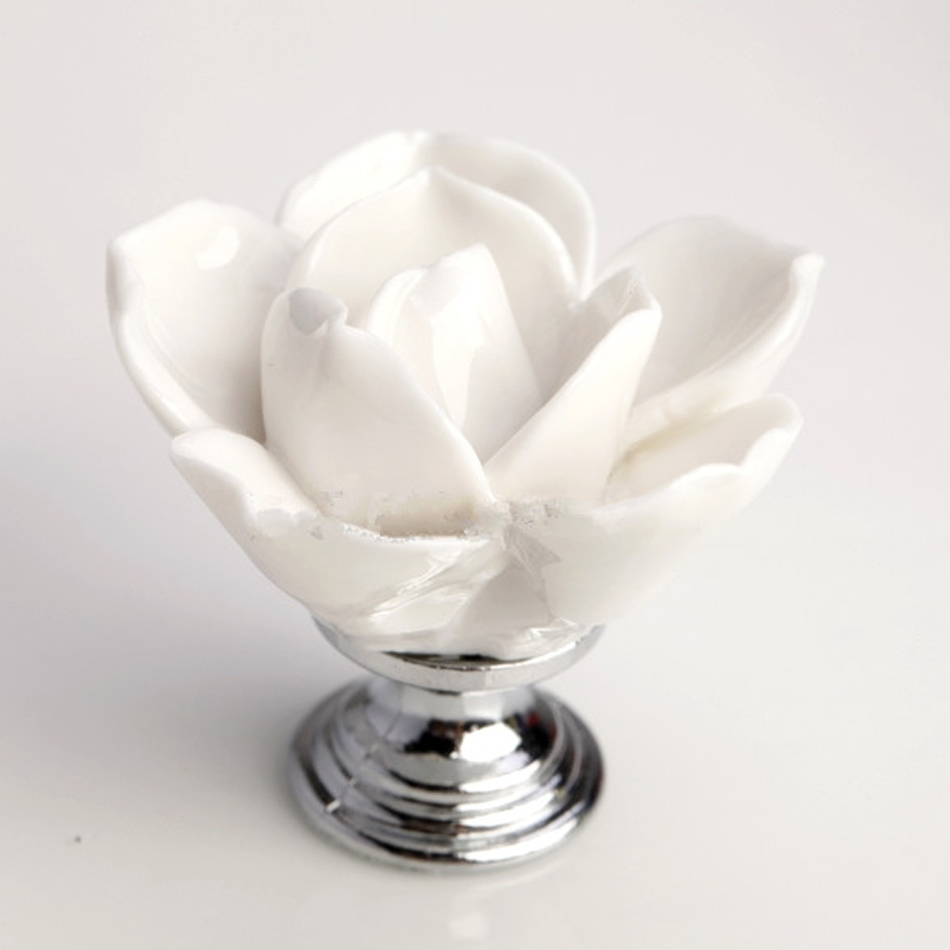 White Ceramic Rose Flower Cabinet Handles Knobs Baby