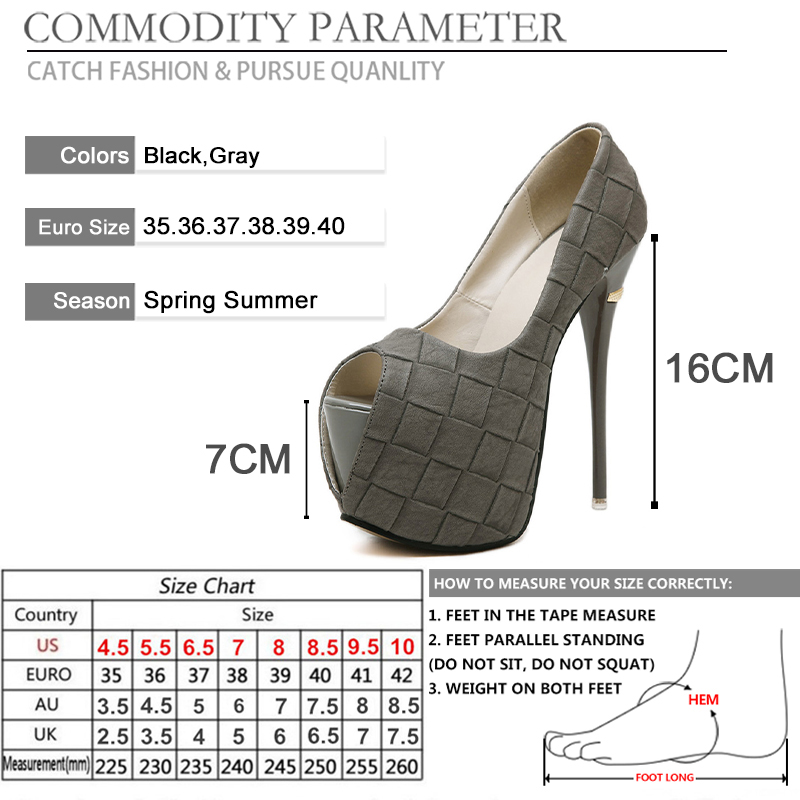 BYQDY Sexy Women Pumps Shoes Platform Shoes Open Peep Toe Spring High Heels Ladies Shoes Black Gray Party Pumps Size 34 40 in Women 39 s Pumps from Shoes