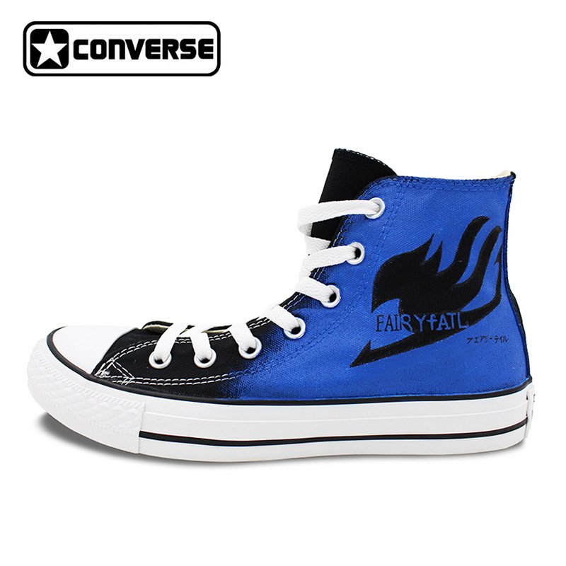 Fairy Tail Anime Converse All Star Woman Man Shoes Design Hand Painted High Top Canvas Men Women Sneakers Best Birthday Gifts  free shipping korean version candy colors fairy tail logo printing man woman canvas schoolbag red green black blue backpacks