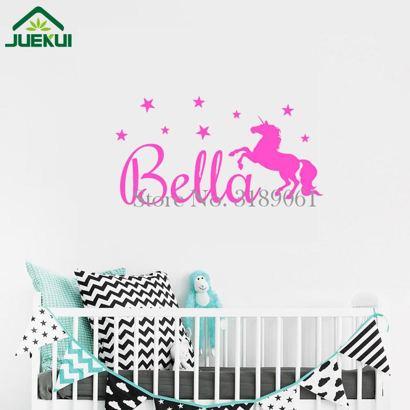 Us 2 89 25 Off Custom Baby Name Wall Sticker With Unicorn And Stars S Boys Decor Murals Nursery Wallpaper Kids Vinyl Stickers Ja919 In