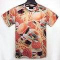 men/women 3D Hamburger Chips food creative printed novelty T-shirt t shirt clothes tees tshirts poleras de mujer camisas shirts
