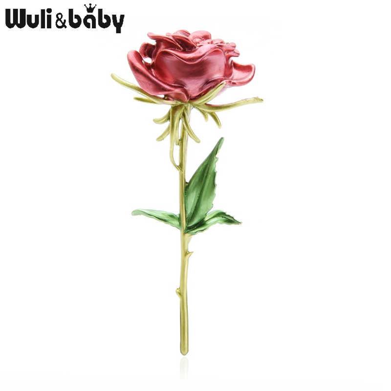 Wuli & del bambino Rosso Rosa Spille Donne Del Fiore Dello Smalto Matrimoni Spilla Spilli della Mamma Regali