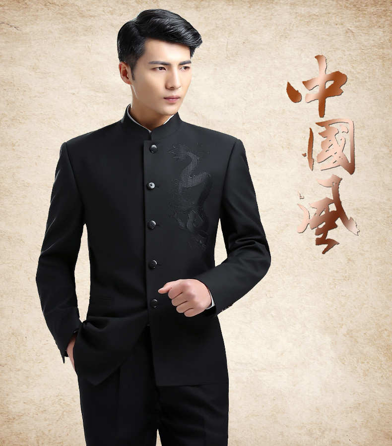 Mens Slim Fit Stand Collar Suits Dargon Embroidered Fashion Chinese Tang Suits Male Stylish Casual Suits Set Tangsuit FS-102