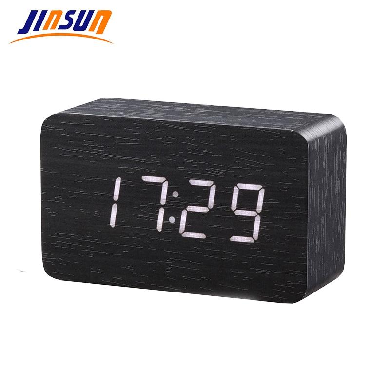 JINSUN fa Bambusz LED ébresztőóra Reloj Despertador Modern hőmérsékleti asztali óra LED elektronikus asztali digitális asztali óra