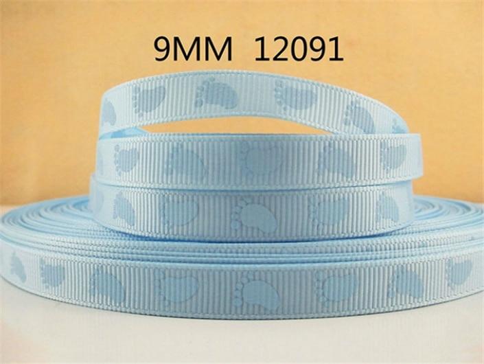 """(5yds Pro Rolle) 3/8 """"(9mm) Footprint Hohe Qualität Gedruckt Polyester Band 10 Yards, Diy Handgemachten Materialien, Hochzeit Geschenkpapier, 10yc5"""