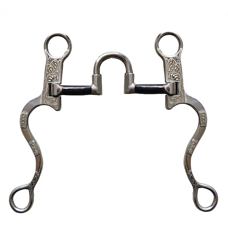 125 MM Stainless Steel Horse Bit Solid Jointed Mouth Snaffle Antique Western Silver Decoration Horse Riding Racing Equipment