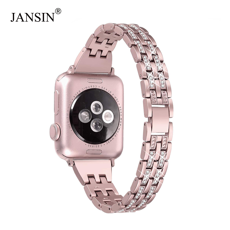Bling women Diamond Bands for Apple Watch 38mm 40mm 42mm 44mm Bracelet Stainless steel Strap iWatch Series 4 3 2 1 watch Band 20 colors sport band for apple watch band 44mm 40mm 38mm 42mm replacement watch strap for iwatch bands series 4 3 2 1