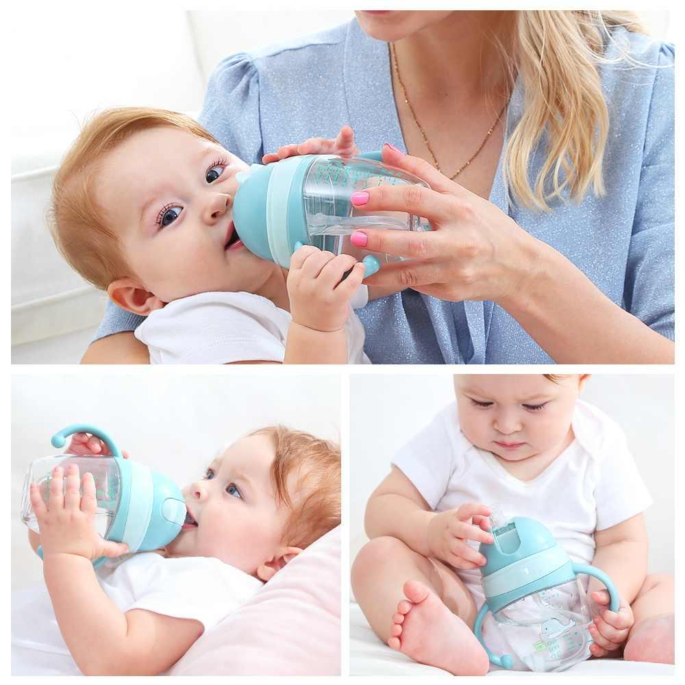ใหม่เด็กขวดถ้วย 2 ใช้เด็กนมขวดปากนุ่มทารกเครื่องดื่มการฝึกอบรมขวดนม Biberones Para bebe
