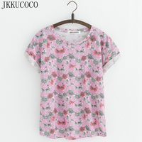 JKKUCOCO New Style Small Flowers T Shirts Cotton T Shirt Women Tops Short Sleeve T Shirt