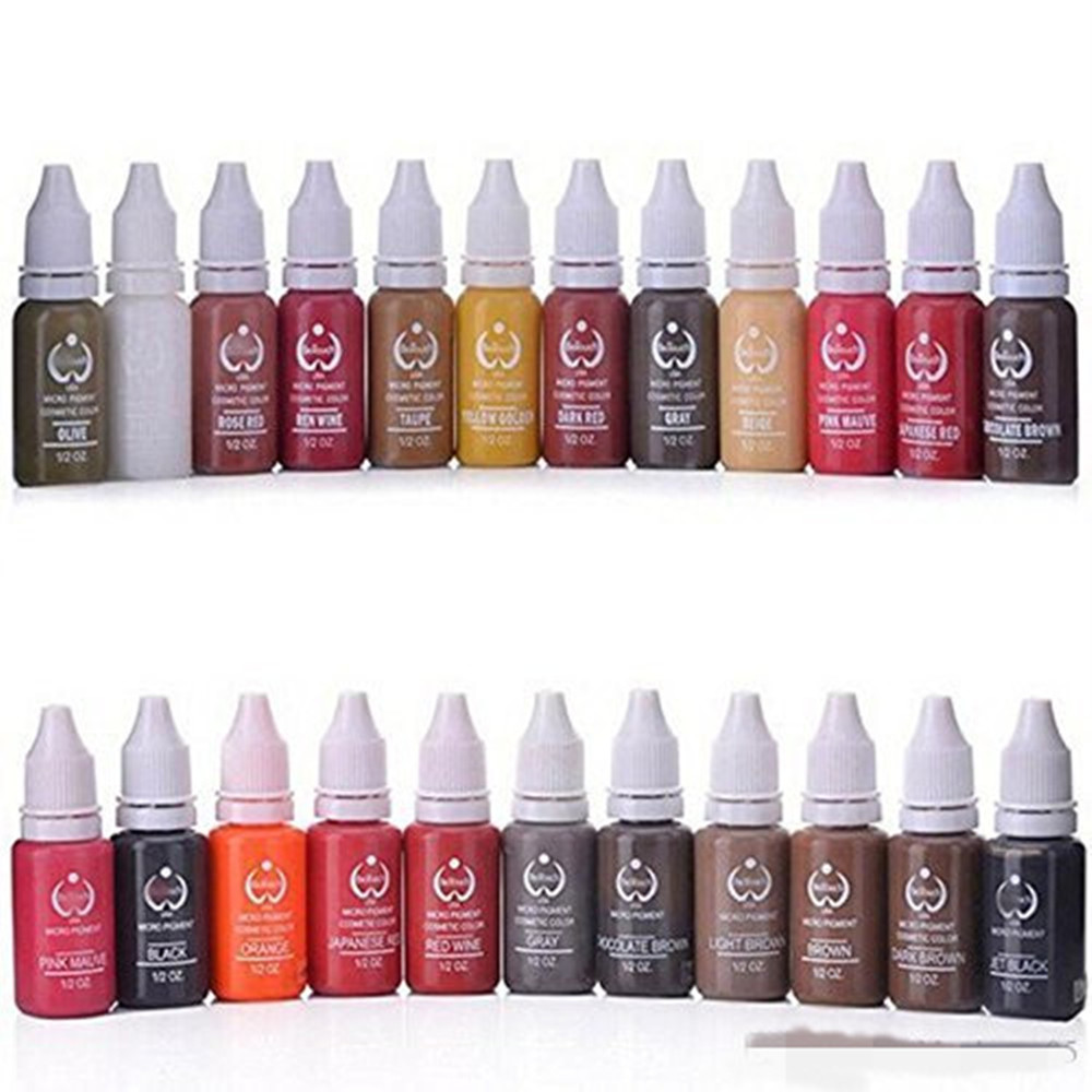 New 23Pcs Ink Permanent Makeup Pigment 15Ml Cosmetic 23 Color Tattoo Ink Set Paint For Microblading Eyebrow Lip Body Makeup