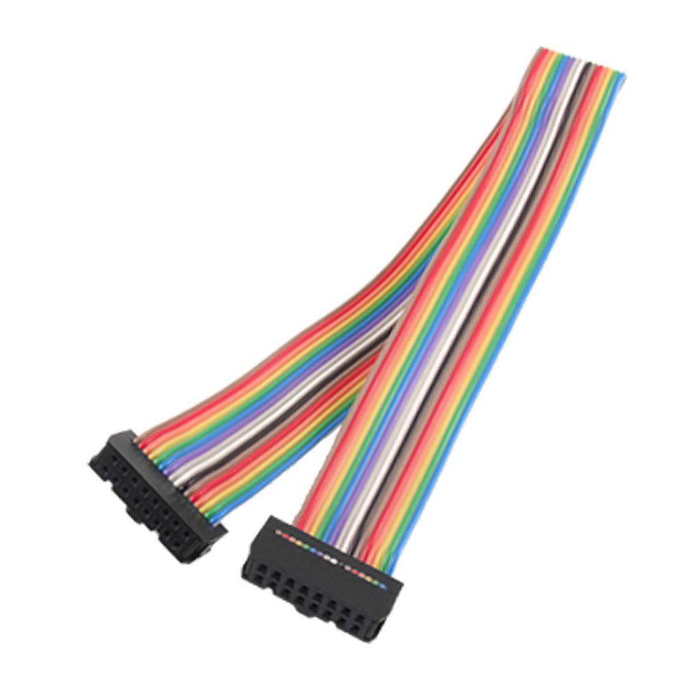 DSHA New Hot 2.54mm Pitch 16 Pin Female to Female IDC Connector Rainbow Color Ribbon Flat Cable