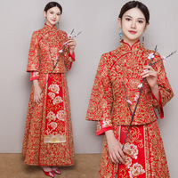 Красный новый цветочный принт полной длины вечерние Платья Восточный вышивка свадебное платье комплект Для женщин Китайский Стиль Cheongsam