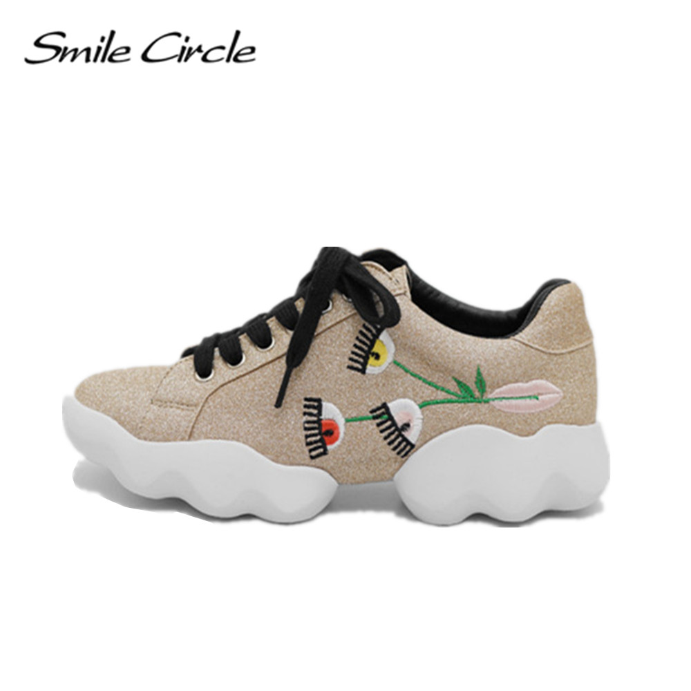 Smile Circle 2017 Spring Autumn Sneakers Women Flat Shoes Fashion Embroidery Shoes Designer Eyes Lace-up platform Shoes