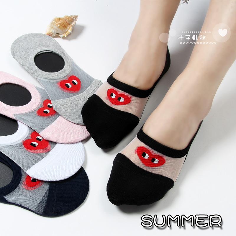 Funny love heart cartoon socks Fashion cute sweet transparent chaussettes femme novelty invisible thin cotton Breathable sock