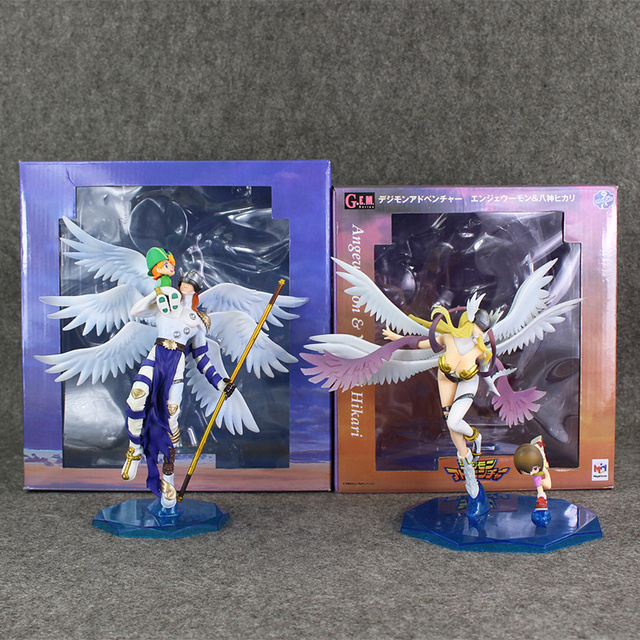 Digimon Angewomon Angemon Figura Takaishi Takeru Yagami Hikari PVC Modelo Toy 22-24 cm Anime Bonecas