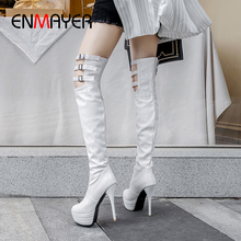 ENMAYER Super High Thin Heels Over The Knee Boots Slip-On Round Toe PU Solid Short Plush Off White Shoes Brand  Buckle Sneakers