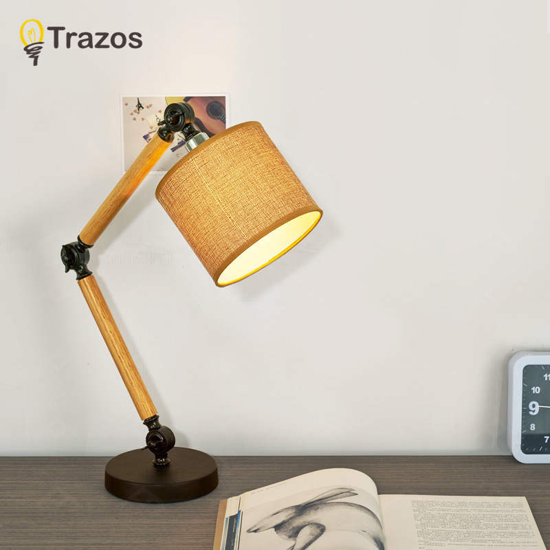 TRAZOS Nordic modern Wooden table lamp Flax Lampshade black fashion table lamp living room bedroom study decorative table lamp цена 2017