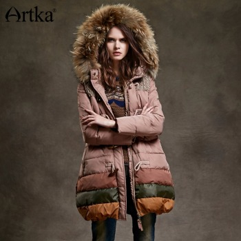 ARTKA Women Duck Down Jacket Winter Long Parka Female Warm Outerwear Hooded Windbreaker Detachable Fur Collar Raincoat YK12348D юбка artka qb17249d