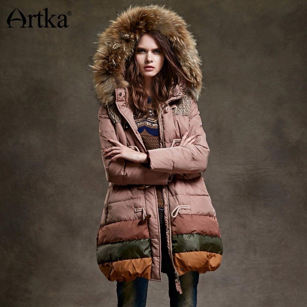 ARTKA kobiety kaczka w dół kurtki zimowe długie Parka kobiet ciepłe kurtki z kapturem wiatrówka zdejmowany kołnierz futrzany płaszcz przeciwdeszczowy YK12348D w Płaszcze puchowe od Odzież damska na  Grupa 1