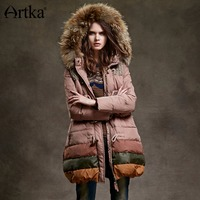 Artka Women S Autumn Winter Vintage Hooded Collar Long Sleeve Contrast Color Midi Pattern Thick Down