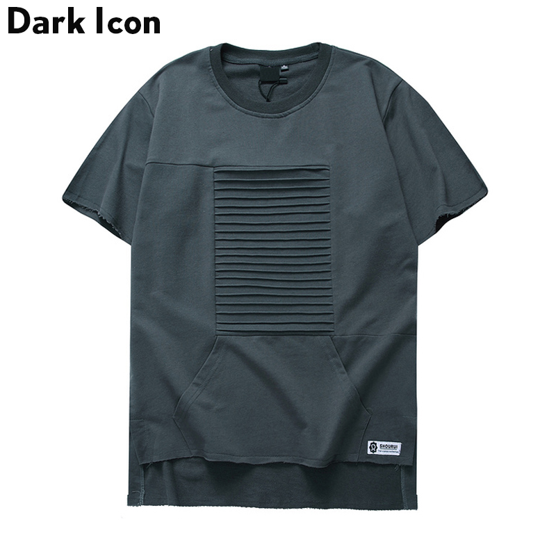 Front Pleated Crewneck Hipster T-shirt Men Short Sleeve 2017 Summer Streetwear Plain Tee Shirts Casual Mens Tshirt Male Top