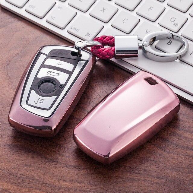 TPU araba anahtarı durumda oto anahtar koruma kapağı BMW için 1/3/5/7 serisi X3 X4 M2/3/4 araç tutucu kabuk renkli araba şekillendirici aksesuarları
