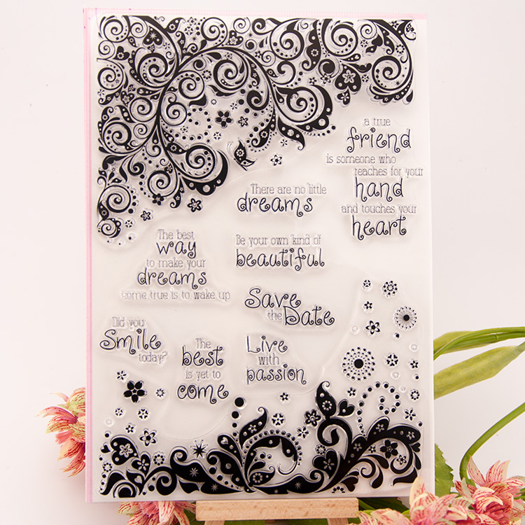 Dream Flower Clear Stamp Scrapbook DIY photo cards rubber stamps seal happy transparent silicone pattern handwork art gift wyf1017 scrapbook diy photo album cards transparent silicone rubber clear stamp 11x16cm camera