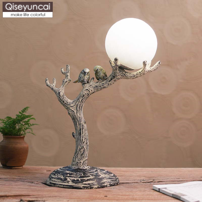 Qiseyuncai 2019 nouveau style chinois chaud oiseau lampe de table salon chambre étude simple sculpture décorative lampe de table