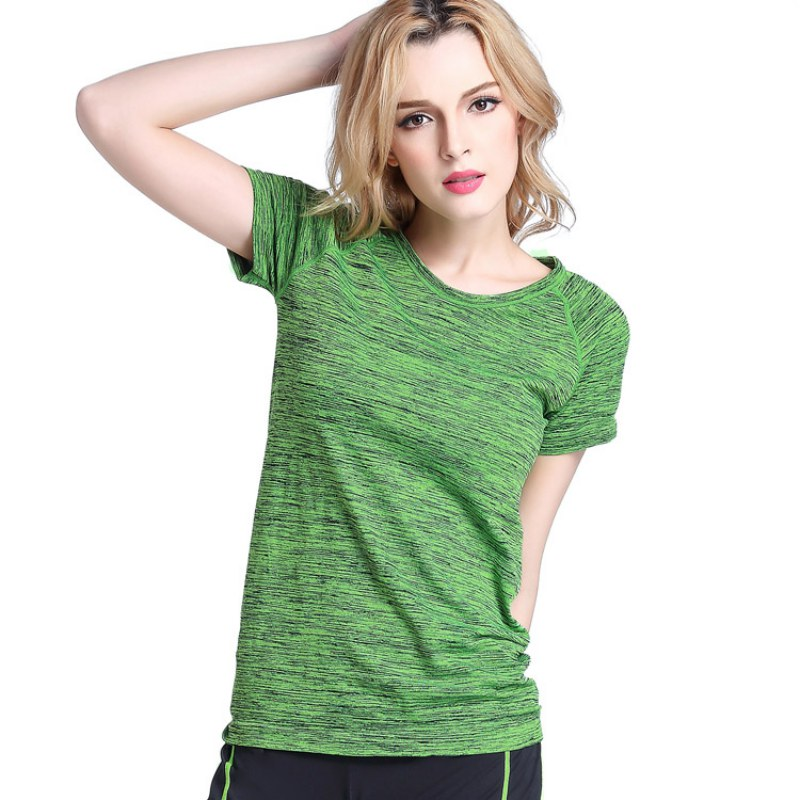 Womens Professional Yoga Shirt Fitness Running Sports Jogging Gym Quick Dry Sweat Breathable Exercises Short Sleeve Tops