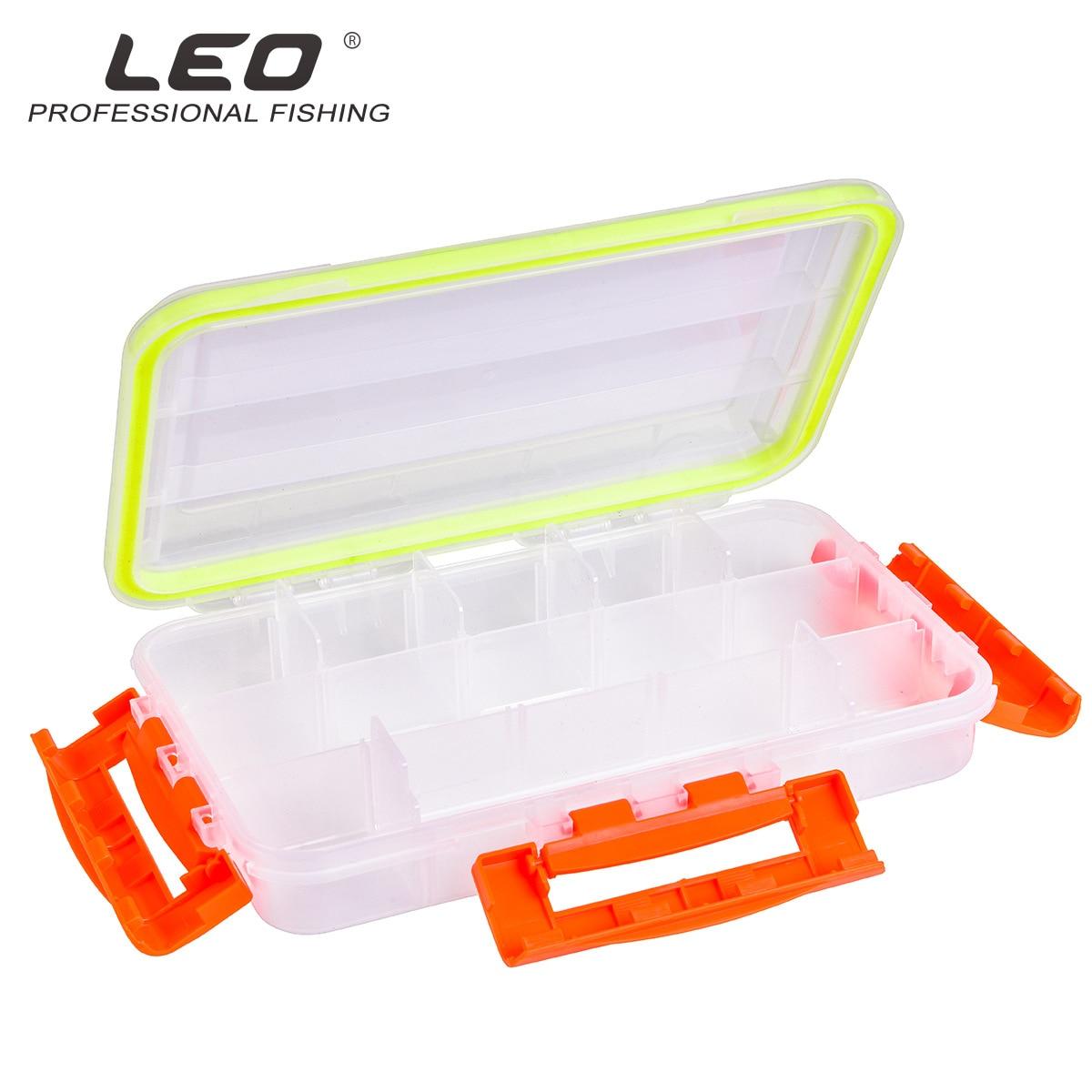 Leo Fishing Tackle Box 27922 Transparent Waterproof Lure Sub-box Three-side Lock Fishing Gear Accessories Case Pesca