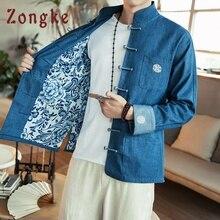 Zongke китайский стиль джинсовая куртка мужская уличная одежда джинсовая куртка Мужская хип-хоп ветровка мужские куртки пальто 5XL Весна