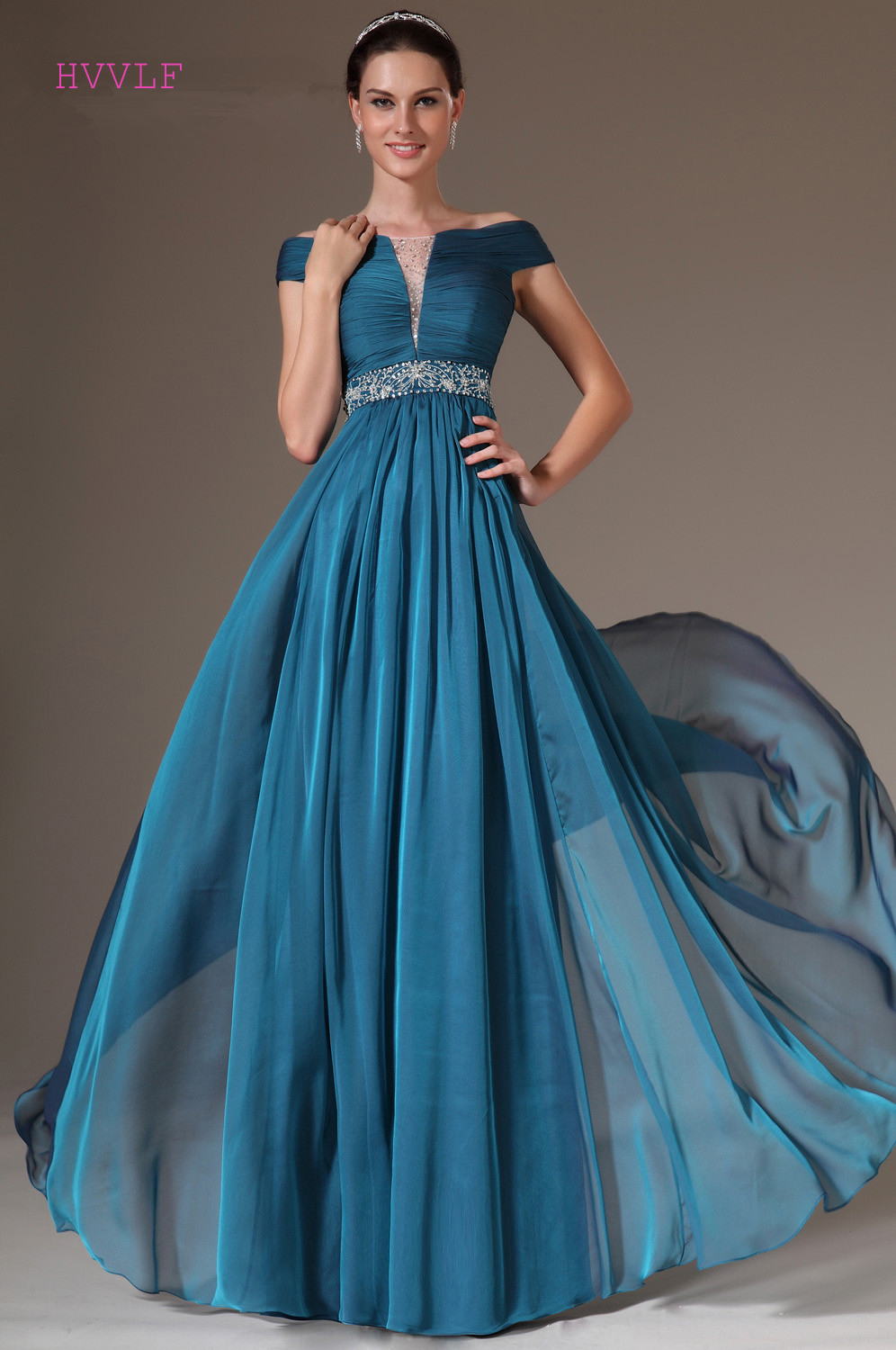 Blue Evening Dresses 2019 A line Cap Sleeves Chiffon Beaded Backless Plus Size Long Evening Gown