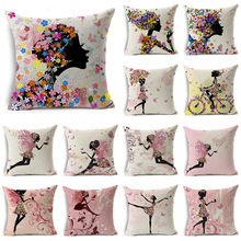 WZH Fairy & Flower Linen Cushion Cover 45x45cm Linen Decorative Pillow Cover Sofa Bed Pillow Case(China)