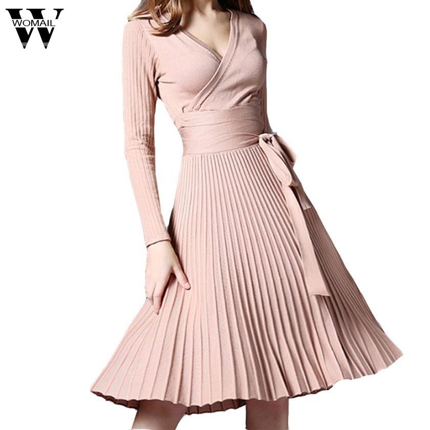 2017 Autumn New Sexy Long-sleeved V-neck Dress Women Knee-Length Elegant Bow Waist Fold Pleated Knit Office Party Vestido Oct26