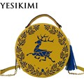 2017 New Fashion Women Circular Bag Hollow Deer Printing Elk Circle Bags Chain Tassel Crossbody Bag Lolita Girl Purse PU Leather