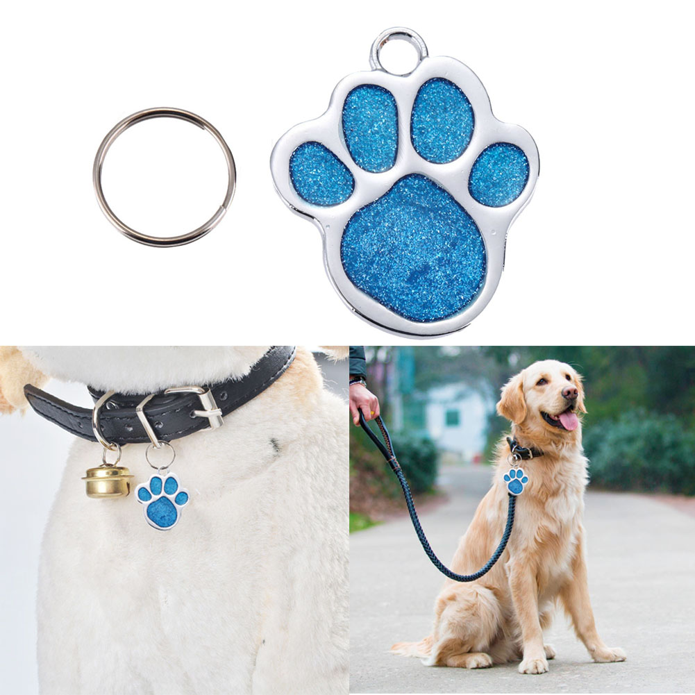 Stainless Steel Pet ID Tag Glitter Custom Pet Dog Tag Personalized Engraved Feet Card Dog Tag Identification Pet Products
