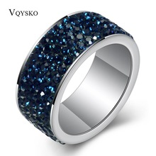 Fashion Jewelry Rings for women CZ zircon Paved Delicate Stainless steel Lady Party Ring