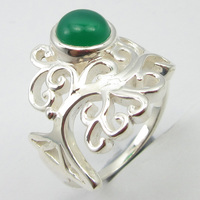 Pure Silver Women Art Jewellery Cabochon Green Onyx Ring Size 7 Unique Designed