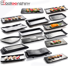 BalleenShiny Melamine Large Dish Imitation Porcelain Frosted Dinner Plate Beef Snack Tableware Restaurant Market Fish Plate