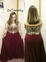 New Burgundy Plus Size Prom Dresses A Line Sweetheart Gold Appliques Formal Long Evening Gowns Modest engagement dresses 2019