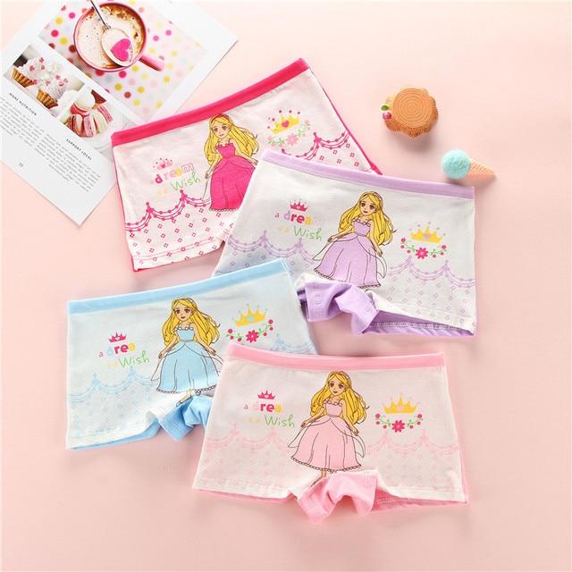 4 Pçs/lote Novas Crianças de Algodão Calcinhas Das Meninas Roupa Interior Bonito Dos Desenhos Animados Impresso Bebê meninas Crianças Boxers Calcinhas Macios para a Menina 2