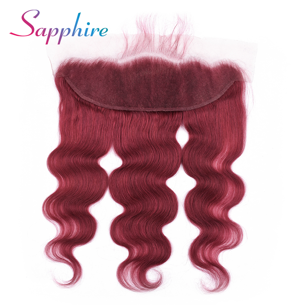 Sapphire Malaysia 13x4 Lace Closure Body Wave Ear To Ear Lace Frontal Closure Dark Red Color Free Part Remy Human Hair Closures