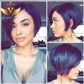 Reta Curta Peruca de Cabelo Humano Moda Nenhum Lace Wig Virgin Brasileiro do Cabelo Humano Lace Front Perucas Para As Mulheres Negras