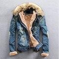2016 dos homens Novos de Inverno Água Lavado Jaqueta Jeans Adolescentes Além de Veludo Gola De Pele Denim Jackets Plus Size Azul M