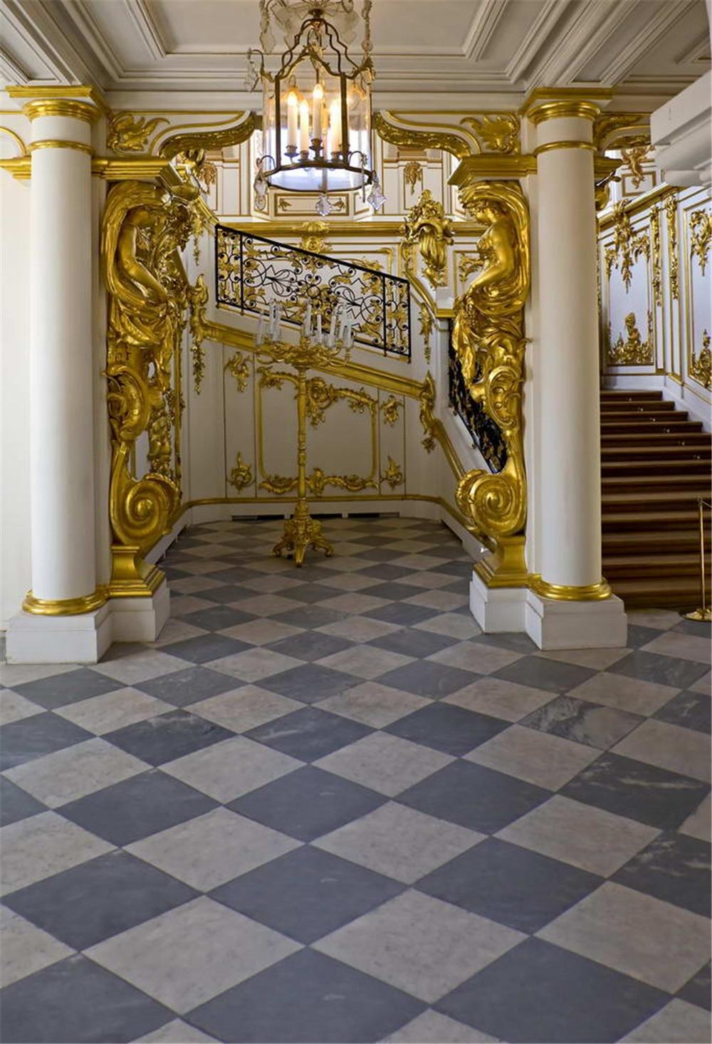 Interior Palace Photography Backdrop Marble Floor Stairs Gold Mosaic Pillars White Wall Droplight Luxury Photo Studio Background Photo Studio Background Studio Backgroundphotography Backdrops Aliexpress